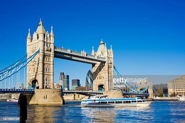 Tower Bridge and the City Skyline London UK