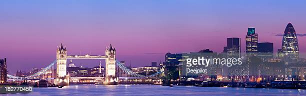 Tower Bridge and the London City Skyline UK