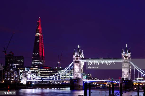 Tower Bridge and The Shard at night, London