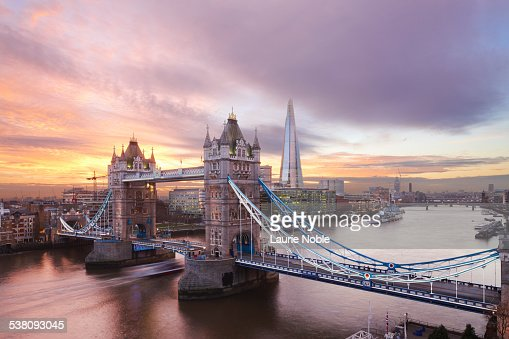Tower Bridge and The Shard at sunset, London