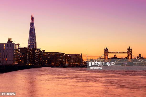 Tower Bridge and The Shard in London at twilight