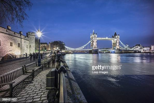 Tower Bridge and The Tower of London at dusk