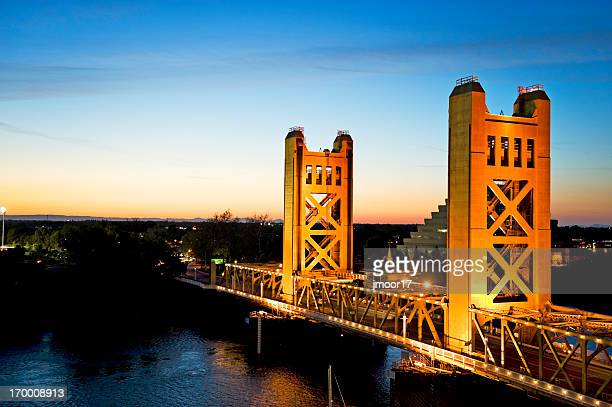Tower Bridge at sunset in Sacramento, California