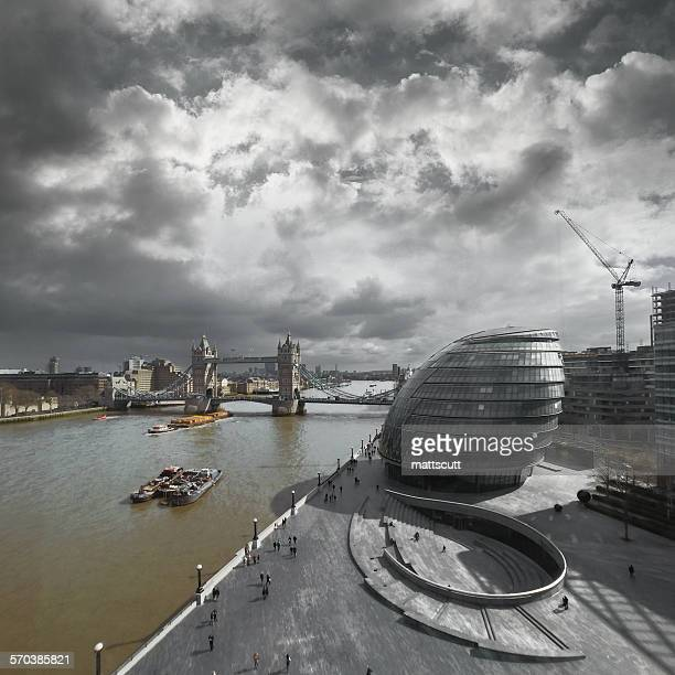 'Elevated view of Tower Bridge, City Hall and the Scoop'