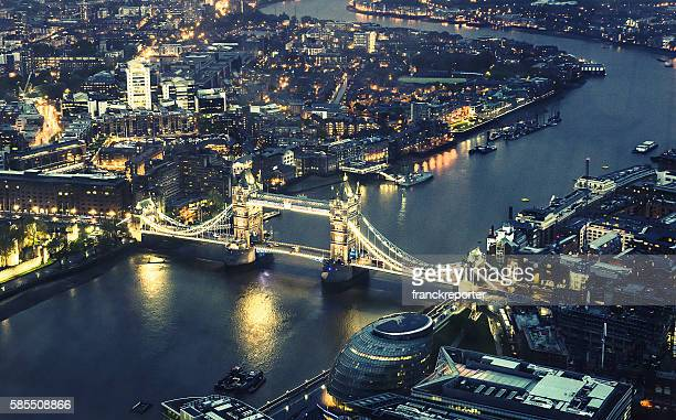 tower bridge helicopter aerial view in london