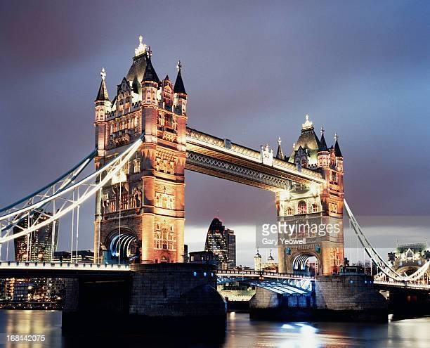 Tower Bridge illuminated at dusk