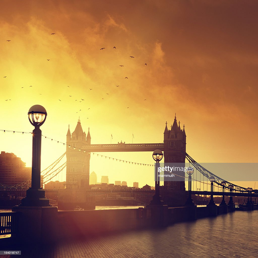 Tower Bridge in London at dawn : Stock Photo
