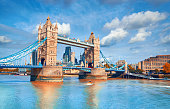 Tower Bridge on a bright sunny day in Autumn. Location - London, England, UK.