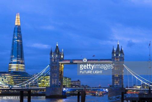 Tower Bridge River Thames and Shard Skyscraper : Stock Photo