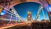 Tower Bright shot through Tower Bridge at Twilight