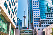 Toronto's famous CN Tower, located in the downtown district.  At over 550 meters, it was built in 1976 as a communications and observation tower.