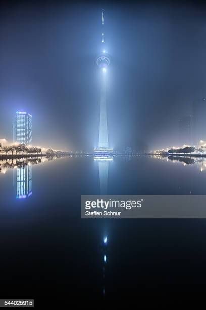 TV Tower in the fog China city night
