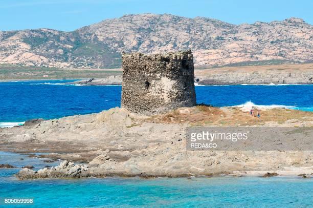 Tower la Pelosa beach Stintino village Sardinia Italy Europe