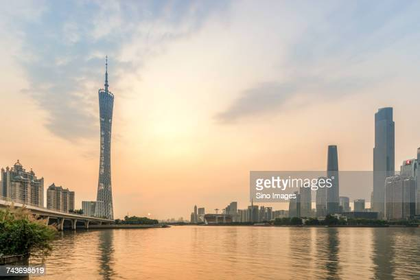 Tower next to water, Guangzhou TV Tower, Guangzhou, Guangdong, China