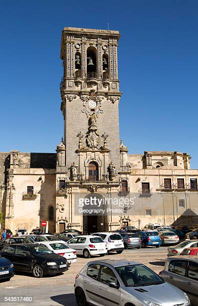 Tower of church Santa Maria de la Asuncion Plaza del Cabildo Arcos de la Frontera Cadiz province Spain