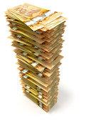 Tower of crisp Canadian hundred dollar bills on white