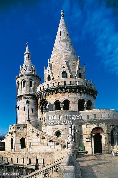 A tower of Fishermen's Bastion 18951902 NeoGothic and NeoRomanesque style Buda Castle hill Budapest Hungary