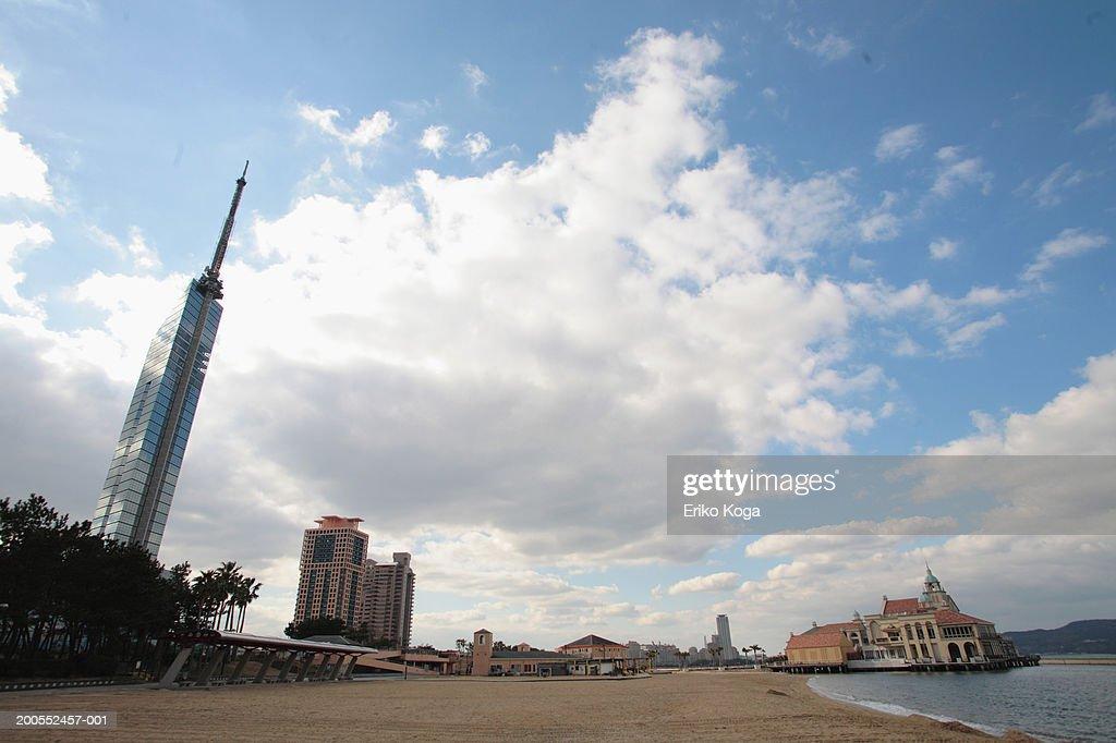 Tower of Fukuoka with beach at foreground, Momochi, Fukuoka, Japan
