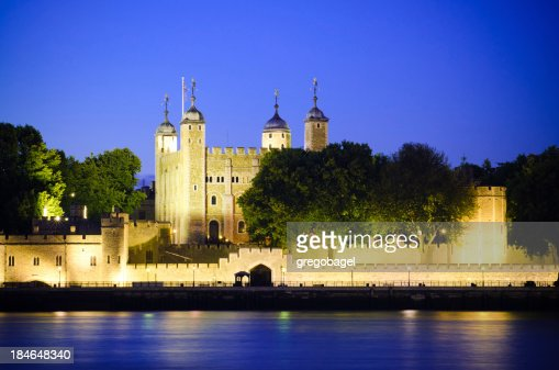 Tower of London along River Thames in England