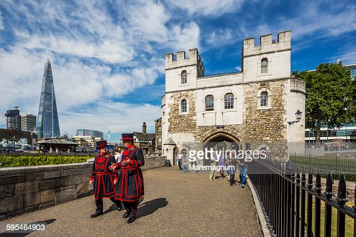 Tower of London, beefeaters near the Middle Tower
