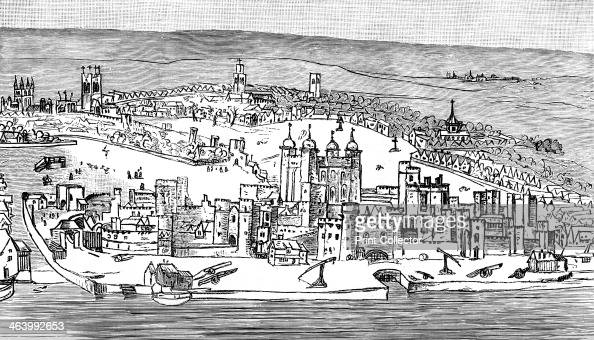 Tower of London c1543 An illustration from A Short History of the English People by John Richard Green illustrated edition Volume II Macmillan and Co...