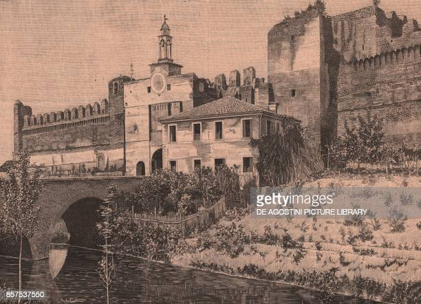 Tower of Malta Cittadella Veneto Italy woodcut from Le cento citta d'Italia illustrated monthly supplement of Il Secolo Milan 1901