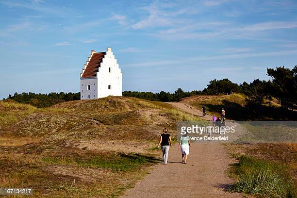 tower of the church buried in the dunes of Skagen
