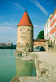 Tower on the Danube River, Passau, Germany