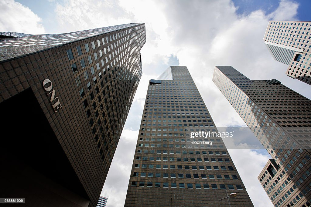 Tower One of Suntec City, left, which houses the headquarters of BSI Bank Ltd., stands in Singapore on Tuesday, May, 24, 2016. Singapore ordered BSI SAs unit in the city-state to shut down as Swiss authorities began criminal proceedings against the bank, the biggest fallout suffered by a financial institution to date from global probes related to a troubled Malaysian state fund. Photographer: Nicky Loh/Bloomberg via Getty Images