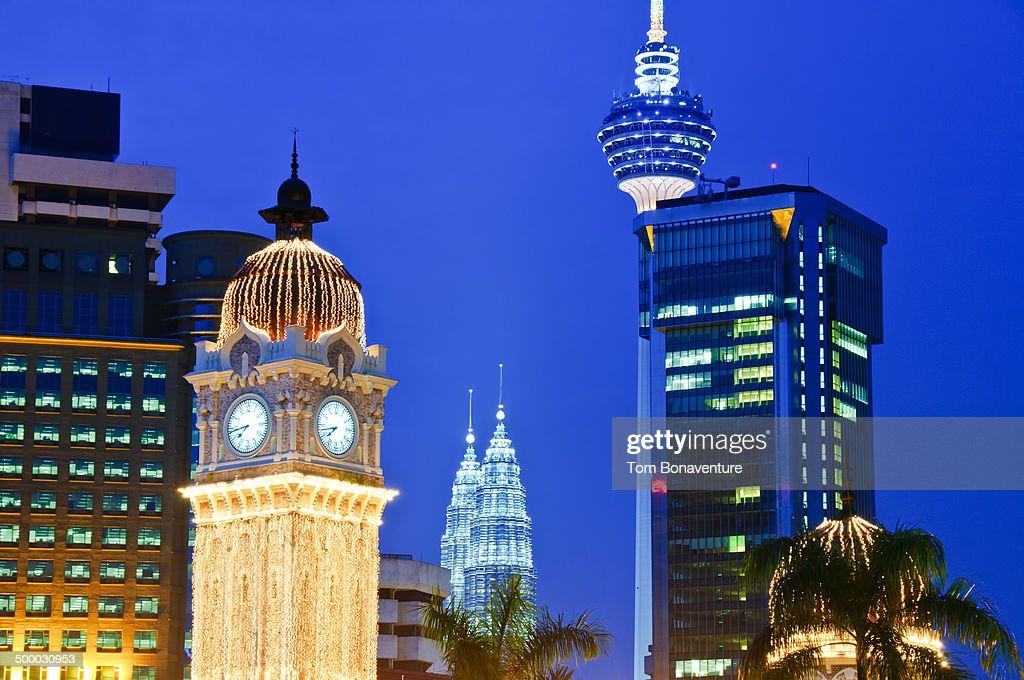 KL Tower, Petronas Towers and Merdeka Square clock