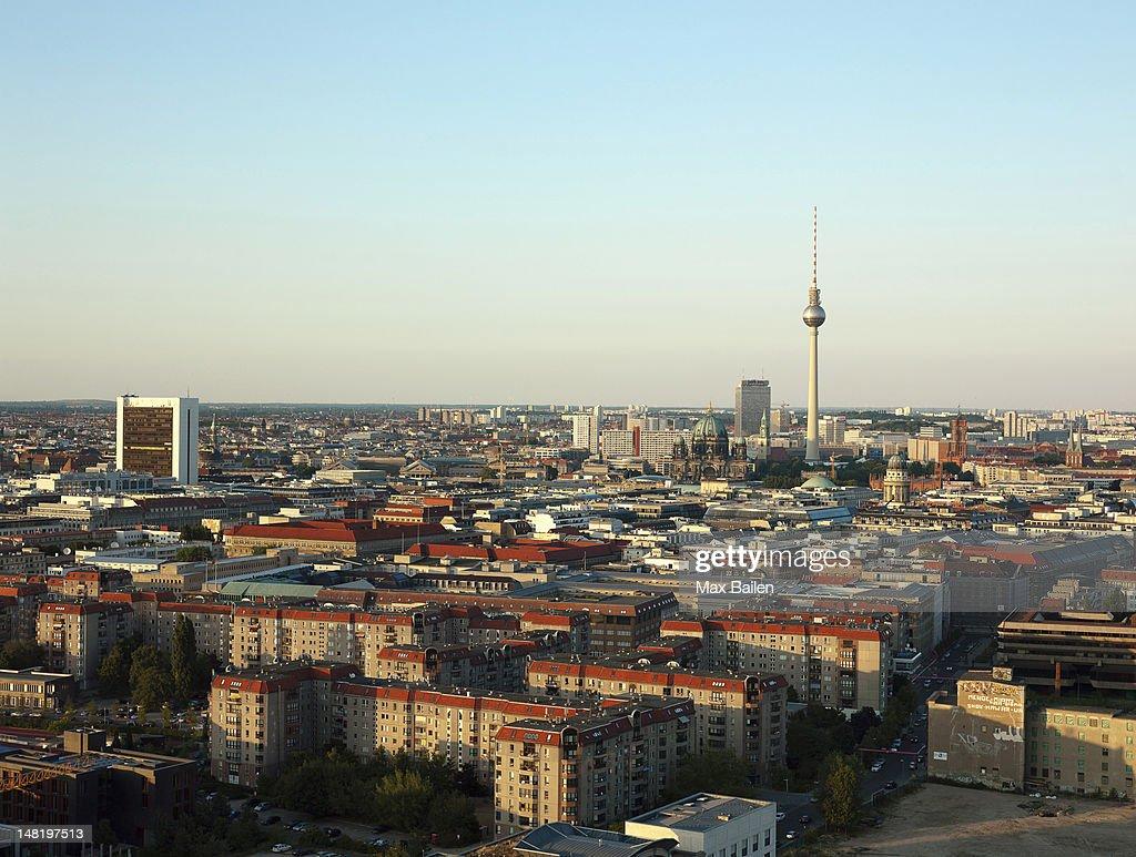 Tower reaching over Berlin skyline : Stock Photo