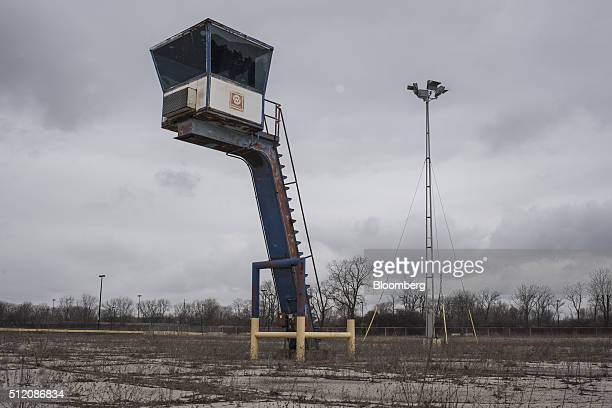 A tower stands at the former site of the General Motors Co powertrain plant inside the Willow Run airport in Ypsilanti Michigan US on Wednesday Feb 3...