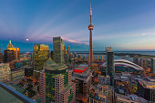 Toronto Cityscape with CN Tower and view of Lake Ontario