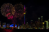 CN Tower with Pride Colors and Fireworks during Canada Day