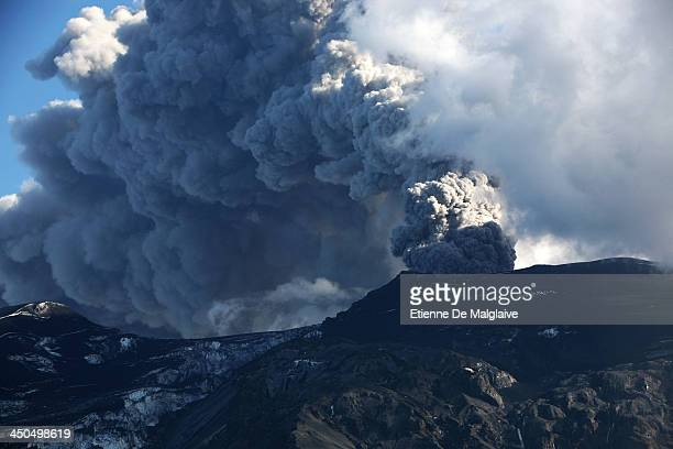 Towering ash plume from Iceland's Eyjafjallajokull crater during it's eruption spewing tephra and cloud of ashes that drift toward continental Europe...