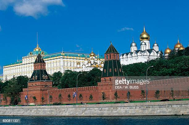 Towers and walls of the Kremlin Ivan the Great bell tower Cathedral of the Annunciation and Grand Palace view from the Moskva River Moscow Kremlin...