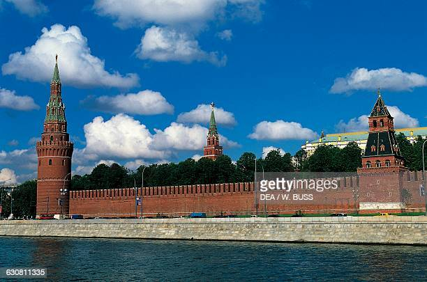 Towers and walls of the Kremlin with a glimpse of the Grand Palace by Konstantin Ton view from the Moskva River Moscow Kremlin Russia