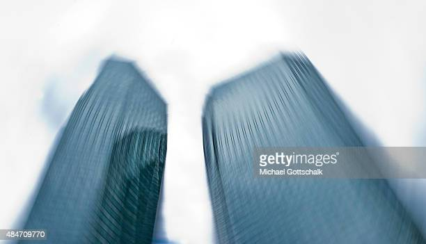 Towers of Deutsche Bank Headquarters on August 14 2015 in Frankfurt Germany