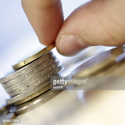 Towers of euro coins : Stock Photo