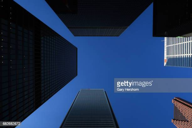 Towers of major Canadian banks First Canadian Place Scotia Plaza Commerce Court and TD Center are seen in the Bay Street financial district in...