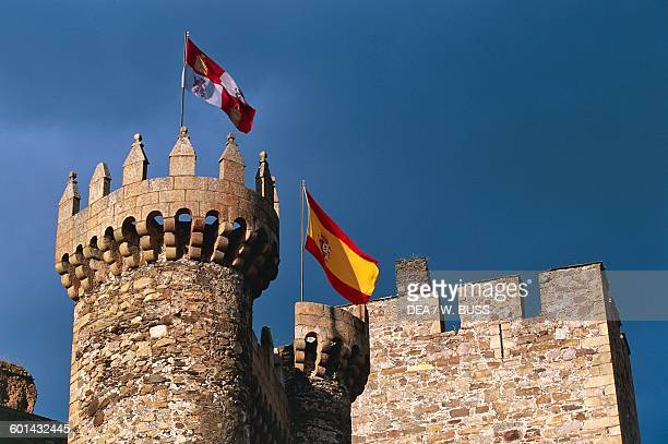 Towers of the Castle of the Knights Templar or Castillo del Temple Ponferrada Castile and Leon Spain 12th14th century