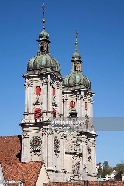 Towers of the Collegiate Church of St. Gallen, cathedral, UNESCO World Heritage Site, St. Gallen, Canton of St. Gallen, Switzerland