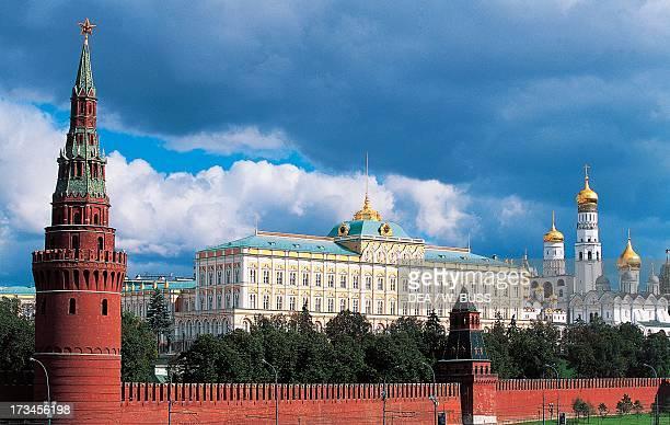 Towers of Vodovzvodnaja and Blagovescenskaja Grand Kremlin Palace design by Konstantin Ton and Ivan the Great Bell Tower design by Marco Bono Kremlin...