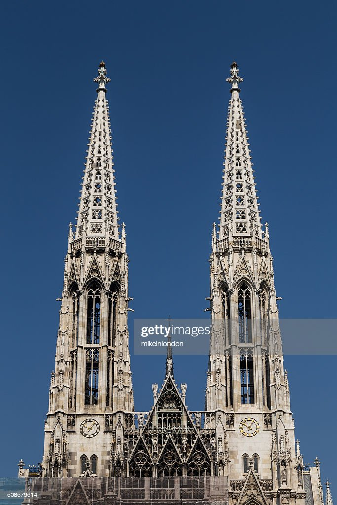 Towers on the Votive Church in Vienna : Stock Photo