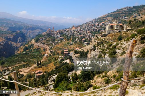 Town and landscape in Bcharre, Lebanon
