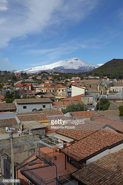 Town and the Mount Etna in the distance