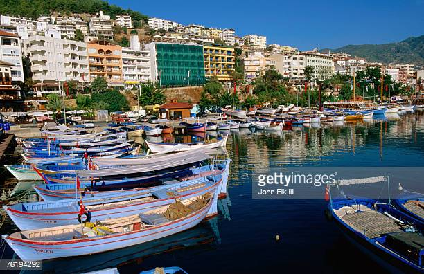 Town buildings and marina boats, Alanya, Antalya, Turkey, Middle East