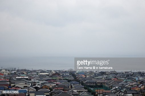 Town by the sea in a rainy day : ストックフォト