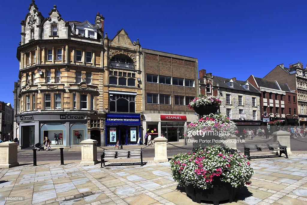 Town centre street view, Northampton town : Stock Photo