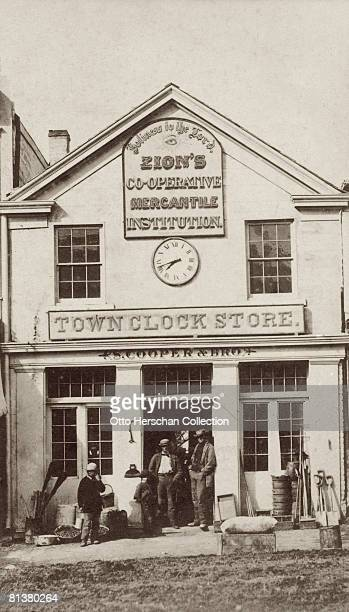 A town clock store in Salt Lake City Utah run by S Cooper Brother for Zion's Cooperative Mercantile Institution circa 1870 The ZCMI was founded in...